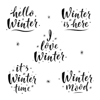 Lettrage simple dessiné à la main avec des phrases d'hiver