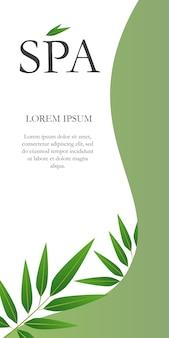 Lettrage spa avec des feuilles sur la bannière verte et blanche.