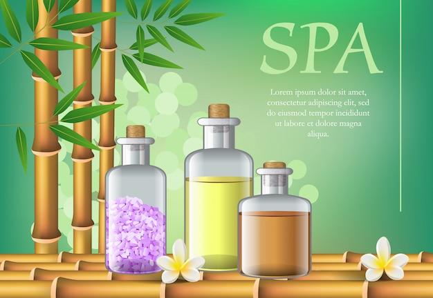 Lettrage spa et huile dans des bouteilles. affiche publicitaire spa salon