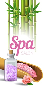 Lettrage spa salon, bambou et sel en cuillère et bouteille.