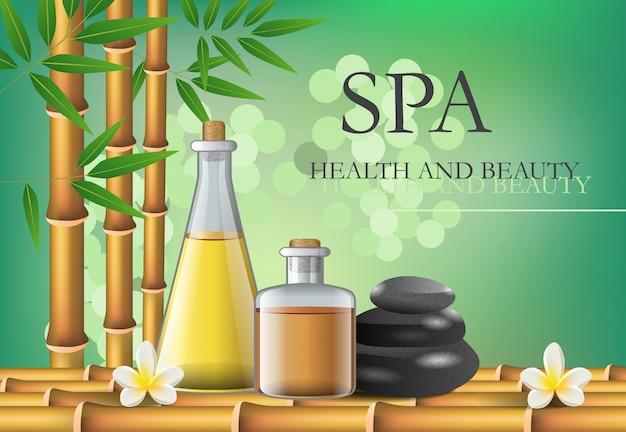 Lettrage spa, santé et beauté avec composition d'accessoires.