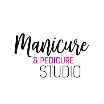 Lettrage De Studio Manucure Et Pédicure Vecteur Premium