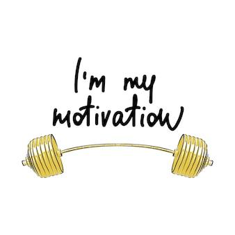 Lettrage de style gravé. croquis dessiné main d'haltères jaunes. je suis ma motivation.