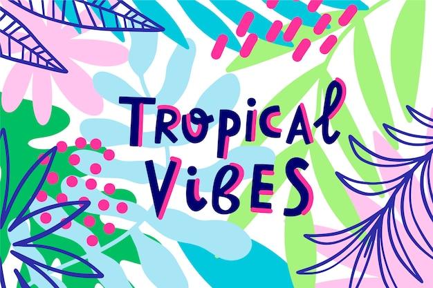Lettrage De Style Tropical Avec Des Feuilles Vecteur gratuit