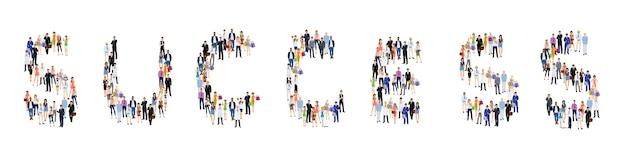 Lettrage de succès de groupe de personnes