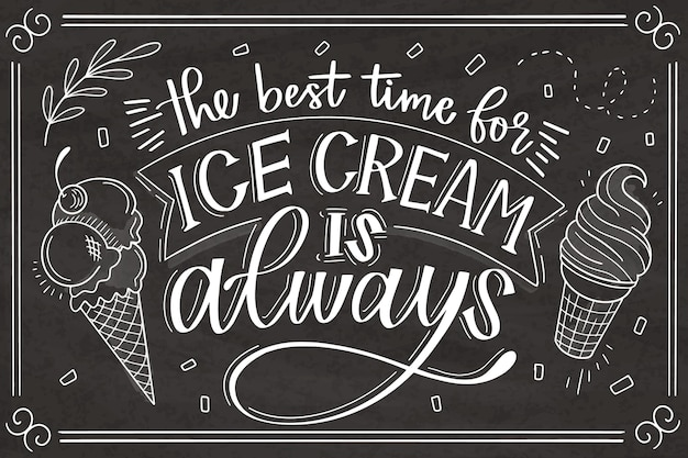 Lettrage de tableau de crème glacée dessiné à la main