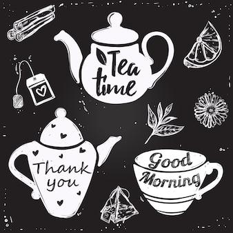 Lettrage de tasse de thé