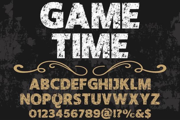 Lettrage de temps de jeu de conception typographie effet effet ombre