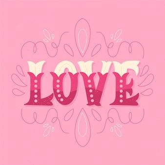 Lettrage de texte d'amour blanc et rose