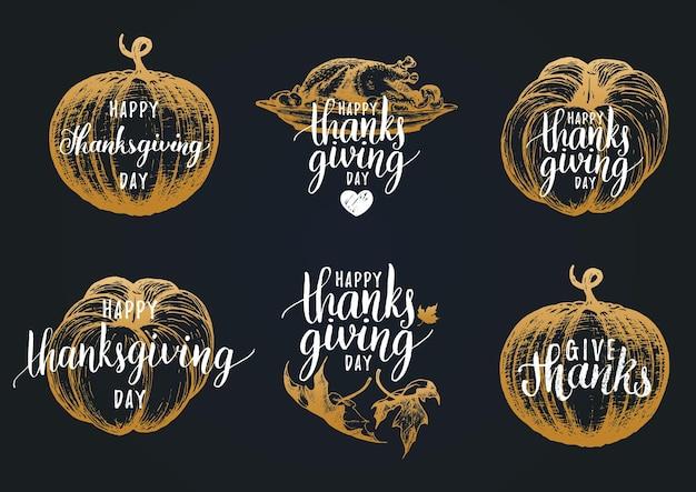 Lettrage de thanksgiving de vecteur pour les invitations ou les cartes de voeux festives. ensemble de calligraphie manuscrite reconnaissant reconnaissant béni etc.