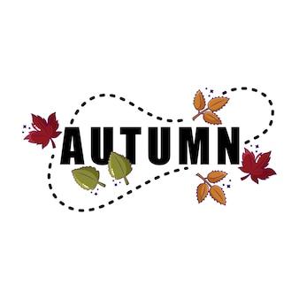 Lettrage typographique d'automne avec des feuilles qui tombent