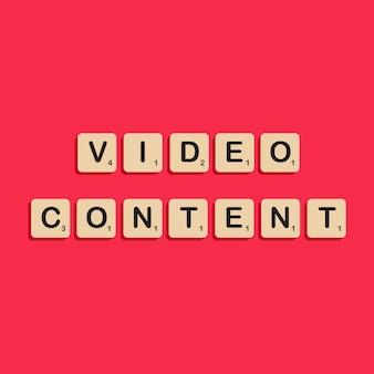 Lettrage typographique de contenu vidéo dans le concept d'alphabet de bloc de scrabbles