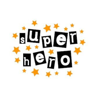 Lettrage typographique de super héros dans le style découpé
