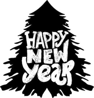 Lettrage de vacances grunge dessinés à la main modèle de vecteur de bonne année pour carte de voeux