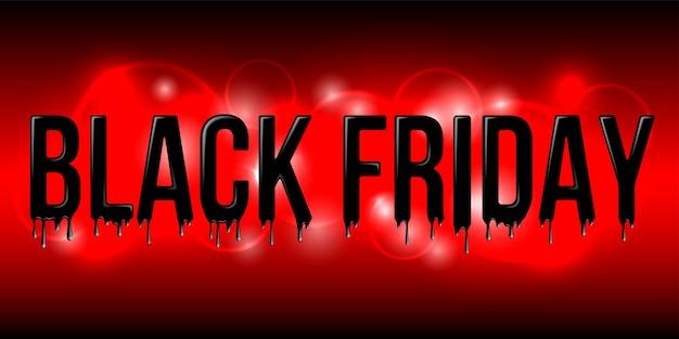 Lettrage de vendredi noir avec des gouttelettes de liquide noir sur fond rouge. symbole de vente vendredi noir. élément de conception à vendre des bannières et des affiches.