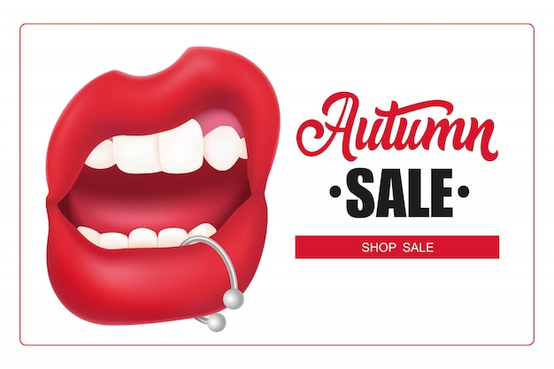 Lettrage de vente d'automne dans le cadre, bouche de femme avec piercing à la lèvre