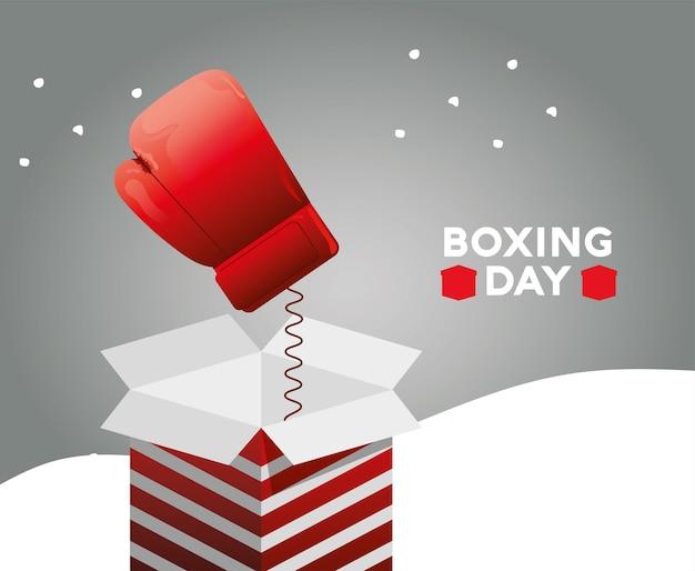 Lettrage de vente de boxe day avec boîte surprise et illustration de saut de gant