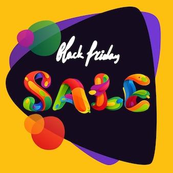 Lettrage de vente du vendredi noir sur fond triangulaire pour votre affiche, vos dépliants et autres publicités.