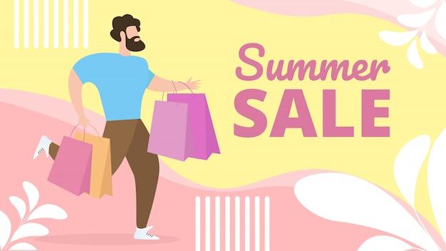 Lettrage de vente d'été de bannière plat d'information.