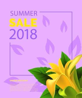 Lettrage de vente d'été en cadre avec fleur jaune. offre d'été ou publicité de vente