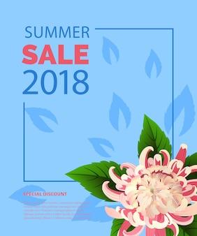 Lettrage de vente d'été dans cadre avec fleur rose. offre d'été ou publicité de vente