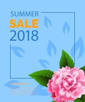 Lettrage de vente d'été dans le cadre avec pivoine. offre d'été ou publicité de vente
