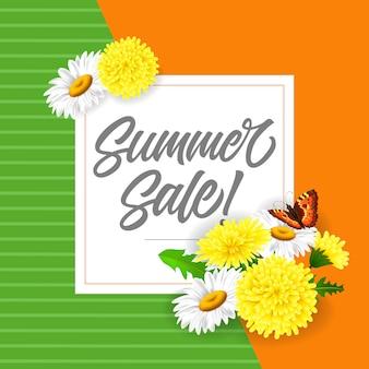 Lettrage de vente d'été avec des pissenlits et des papillons. offre d'été ou publicité de vente