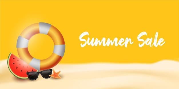 Lettrage de vente d'été pour la bannière avec des verres étoile de mer pastèque et bouée