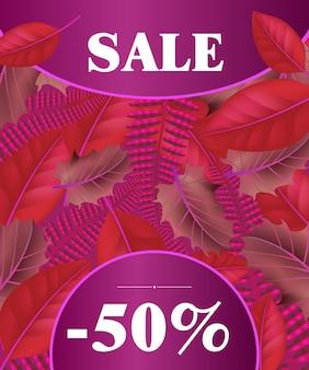 Lettrage de vente sur fond rouge et violet. lettrage créatif sur les feuilles lumineuses.