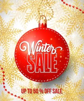 Lettrage de vente d'hiver sur étiquette rouge