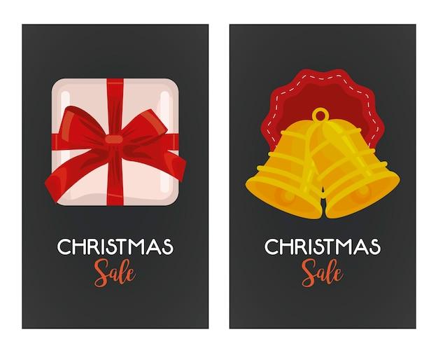 Lettrage de vente joyeux noël avec cloches suspendues et illustration de cadeau