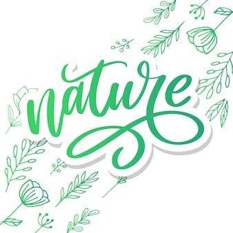 Lettrage vert naturel. concept écologique
