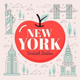 Lettrage de la ville de new york