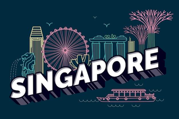 Lettrage de la ville de singapour