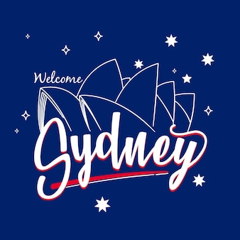 Lettrage de la ville de sydney avec l'opéra