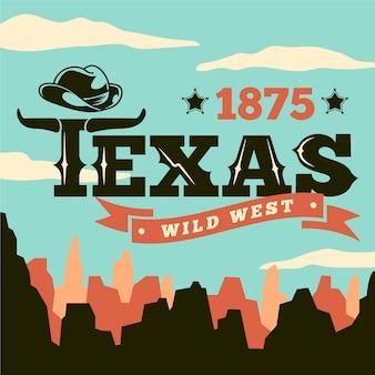 Lettrage de la ville de texas