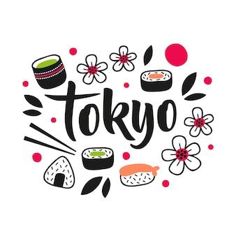 Lettrage de la ville de tokyo