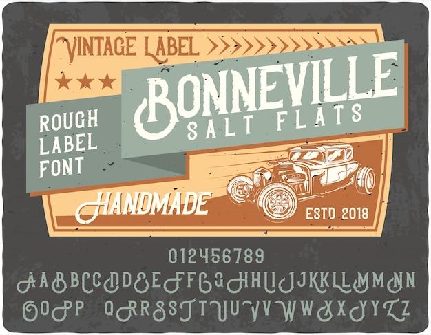 Lettrage vintage de bonneville