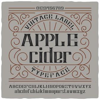 Lettrage vintage de cidre de pomme