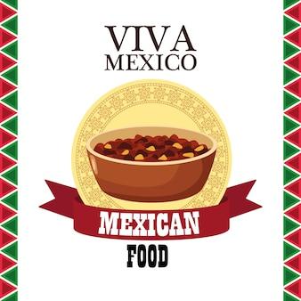 Lettrage viva mexico et cuisine mexicaine avec haricots frits dans un cadre en ruban.