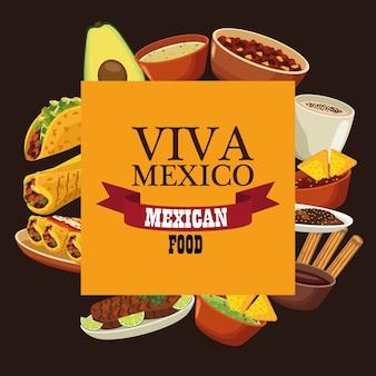 Lettrage viva mexico et cuisine mexicaine avec menu dans un cadre carré.