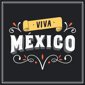Lettrage viva mexico avec des éléments décoratifs
