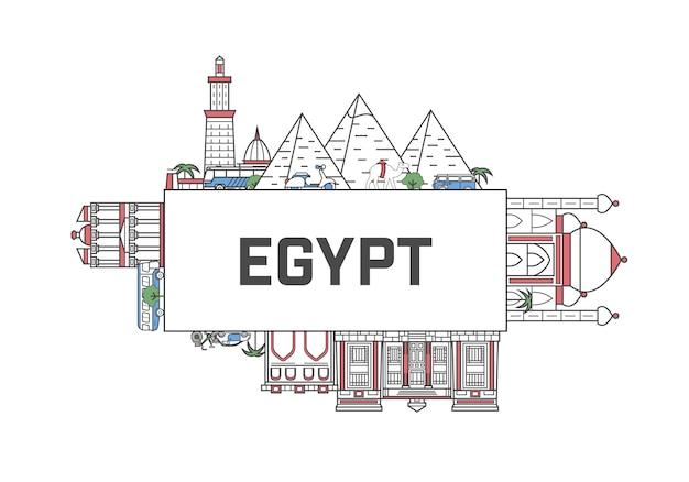 Lettrage de voyage egypte en style linéaire