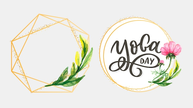 Lettrage de yoga. fond de vecteur journée internationale du yoga. conception de vecteur pour affiche, t-shirts, sacs. typographie de yoga. éléments vectoriels pour étiquettes, logos, icônes, badges.