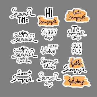 Lettrages de brosse dessinés à la main d'été. typographie d'été - heure d'été, plaisir du soleil, joyeuses fêtes, fête, vente, fête sur la plage, bonjour été