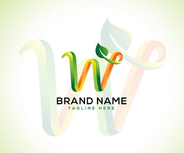 Lettre 3d logo feuille w
