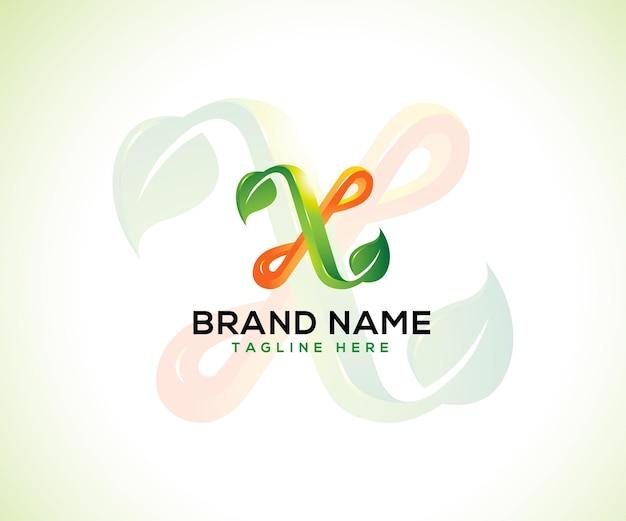 Lettre 3d logo feuille x