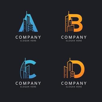 Lettre abc et d avec modèle de logo de bâtiment abstrait
