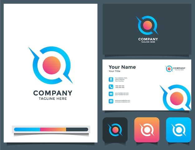 Lettre abstraite o logo et carte de visite