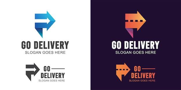 Lettre abstraite p avec flèche et symbole de route pour la logistique, logo de livraison rapide de transport